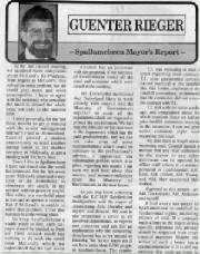 Mayor report July 1991 by Mayor Guenter Rieger